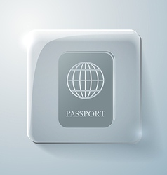 Glass square icon international passport vector