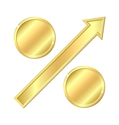 Growing percentage sign with gold coins vector
