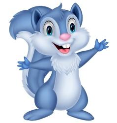 Cute squirrel cartoon waving vector