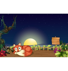 A fox inside the wooden fence with a wooden vector