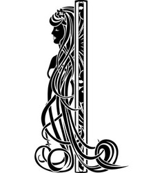 Decorative element in the art nouveau style vector