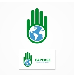 Logo combination of a hand and earth vector
