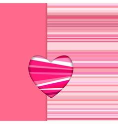 Valentine striped card vertical vector