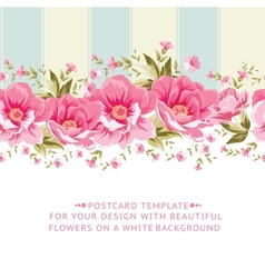 Ornate pink flower border with tile vector