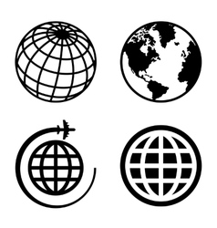 Earth globe icons set vector