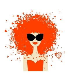 Woman portrait with orange hairstyle summer style vector