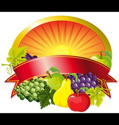 Red fruit label vector