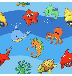 Sea seamless pattern with sea live vector