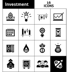 Investment icons black vector
