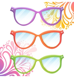 Set of trendy hipster transparent glasses vector