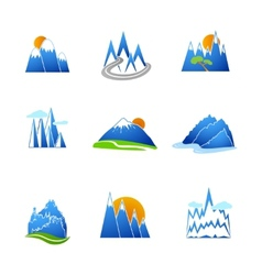 Mountains icons set vector
