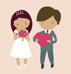 Cute groom and bride characters vector