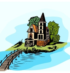 House near the water vector