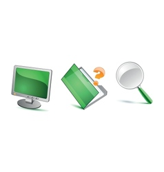 Green isolated icons vector