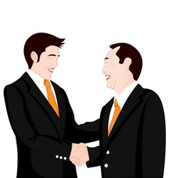 Hand shake business on white background vector