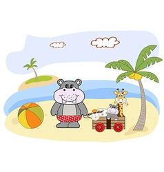 Hippo play on the beach vector