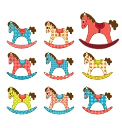 Set of patchwork horses 7 vector