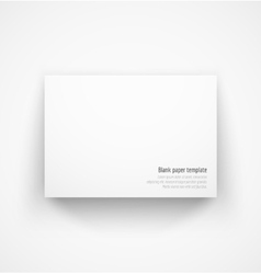 White horizontal paper template mock-up with drop vector