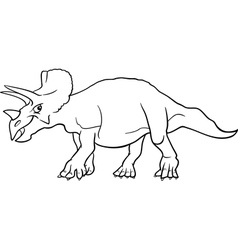 Cartoon triceratops dinosaur for coloring book vector