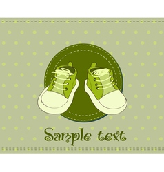 Baby shoes arrival card vector