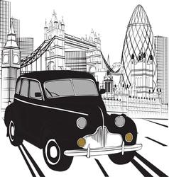 Sketch london taxi vector