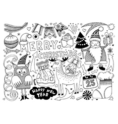 Merry christmas and happy new year set vector