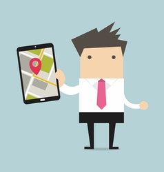 Businessman holding tablet computer vector