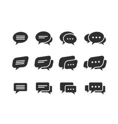Black speech bubble icons vector