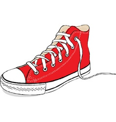 Hand draw modern red sport shoes vector