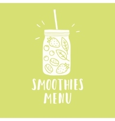 Smoothies menu smoothie jar silhouette with vector