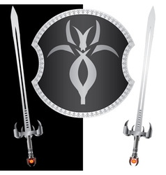 Fantasy shield and swordssecond variant vector