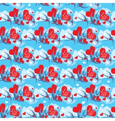 Seamless pattern with swallows and hearts on sky vector