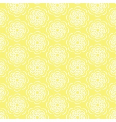 White line flower circular pattern on yellow vector