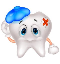 Sick tooth cartoon vector