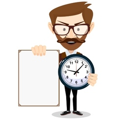 Teacher with a sheet timesheet vector