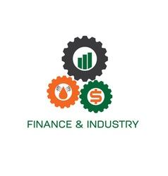 Icons of finance and industry in gears vector