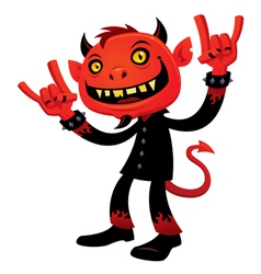 Heavy metal devil vector