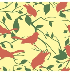 Seamless pattern with birds and tree branches vector