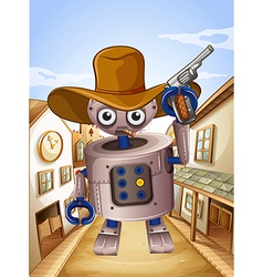 A robot wearing a hat and holding a gun vector