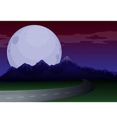 A narrow road under a full moon vector