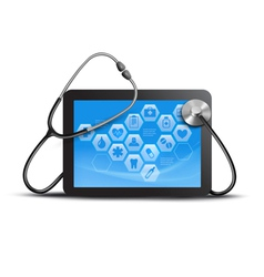 Tablet screen with medical icons and stethoscope vector
