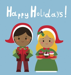 Happy holidays design with cute couple vector