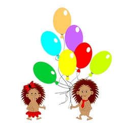 A couple of funny hedgehogs with balloons vector