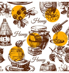 Honey seamless pattern with hand drawn sketch vector