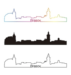 Brasov skyline linear style with rainbow vector