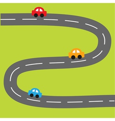 Background with zigzag road and cartoon cars vector
