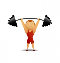 Weightlifter lift up the rod vector