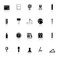 General stationary icons with reflect on white vector