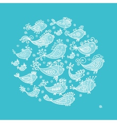 Sketch of funny fishes for your design vector