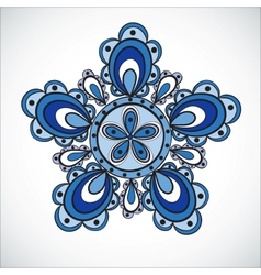 Blue flower pattern hand drawn style vector